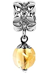 Sterling Silver November Birthstone Citrine Dangle Bead Charm