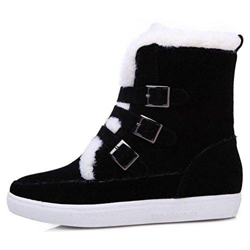 Bottes Cheville Noir Fourrure Strappy Chaussures Faux Femmes Coolcept Plat Chausson De Hiver Chaud PgEqUwa