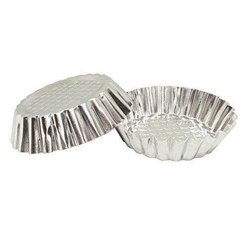 Set of 30, MYStar 3-3/4 Fluted Design Round Shape Non-stick Aluminum Tart Mold, Mini Pie Tin, Tartlet Pan