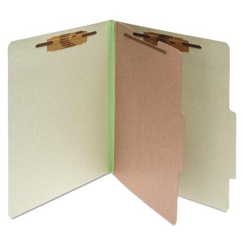 ACCO 15044 Pressboard 25-Pt Classification Folders, Letter, 4-Section, Leaf Green, 10/Box ()