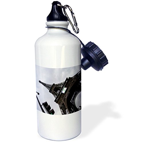 Bottle Water Tour France De (3dRose wb_10503_1 Paris France, Tour Eiffel Sports Water Bottle, 21 oz, White)