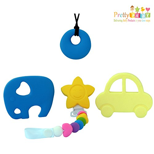 4 Baby Teether Toys To Reduce Teething Pain & Inflammation. Bonus Silicone Teething Necklace FREE. Soft Chewy...