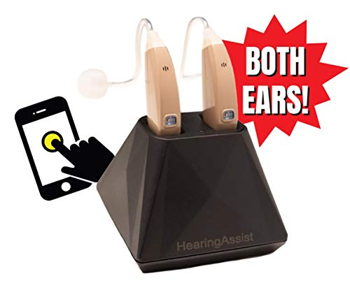Air Conduction Hearing Aid Both Ears! HearingAssist Recharge! HA-802 Smartphone App Control