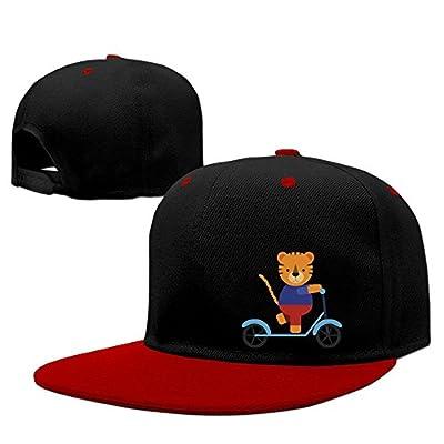 MostPopular Cute Tiger On Scooter Solid Flat Bill Snapback Baseball Cap Hip Hop Unisex Custom Hat.