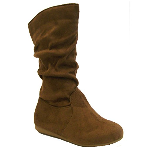 [Link Selena-23K Girl's Mid-Calf Solid Color Flat Heel Slouch Boots, Color:TAN, Size:3 M US Little Kid] (Flat Mid Calf Boots)