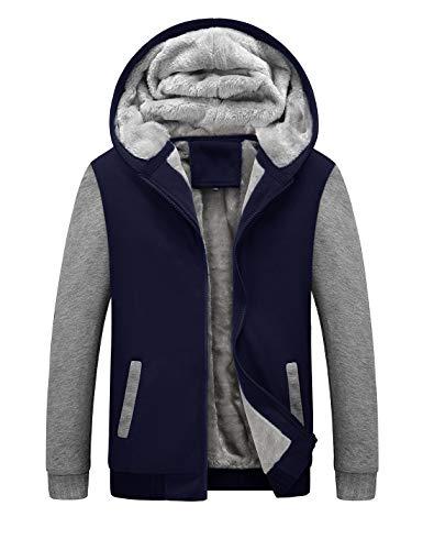 Yeokou Men's Winter Thicken Fleece Sherpa Lined Zipper Hoodie Sweatshirt Jacket (Medium, Z Blue Grey001)