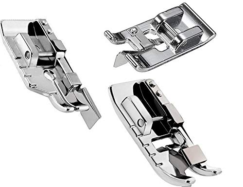 (Pack of 1/4''(Quarter inch) Quilting Patchwork Sewing Machine Presser Foot with Edge Guide,Stitch in Ditch Foot/Professional Overcast Presser Foot for All Low Shank Snap-On Singer,)