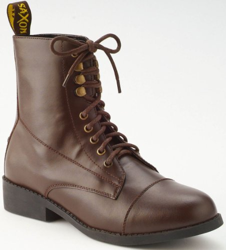 (Saxon Equileather Lace-Up Childs Paddock Boots - Color:Brown Size:10 )