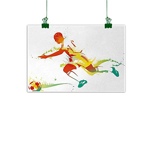 - Unpremoon Teen Room Wall Painting Young Man Playing Soccer Football Athlete Game Win Champion Paintbrush Artwork Photo Canvas Painting Multicolor W 47