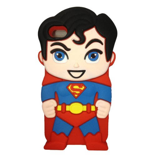 Minidandan Red 3d Hero Superman Red Soft Silicone Back Case Cover Skin for Apple Iphone 4 4s