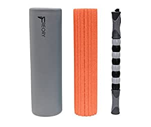 Freory 3 in 1 Foam Roller - Large 18 Inch Trigger Point Foam Roller for Myofascial Release, Best Foam Exercise Roller with High Medium Density Foam and Deep Tissue Massage Stick (Titanium & Orange)