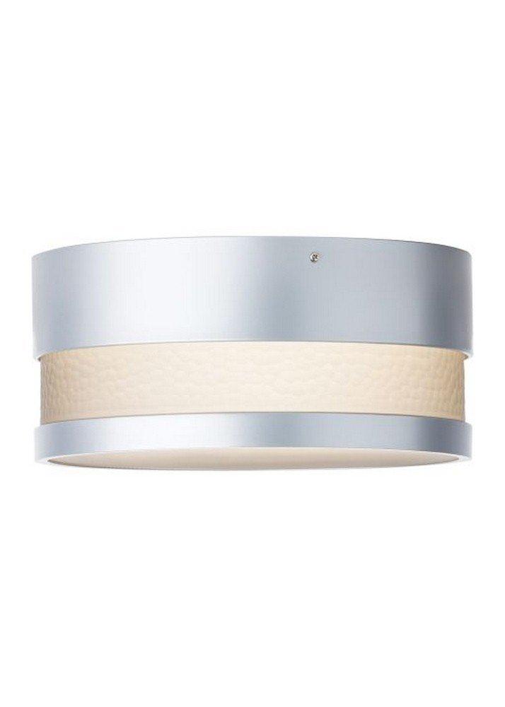 LBL Lighting ODF827SMSIW Moon Dance - One Light Outdoor Flush Mount, Silver Finish with Smoke Glass