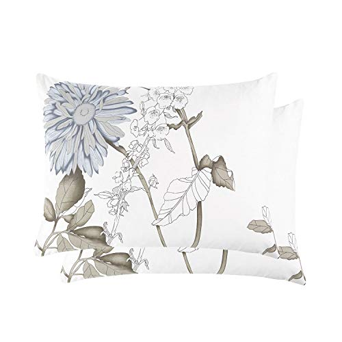 Wake In Cloud - Pack of 2 Pillow Cases, 100% Cotton Pillowcases, Botanical Floral Flowers Pattern Printed (King Size, 20x36 Inches) from Wake In Cloud
