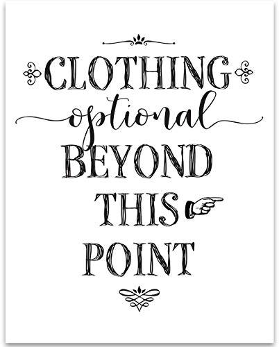 Clothing Optional Beyond This Point - Bathroom - 11x14 Unframed Art Print - Great Bathroom Decor Under $15