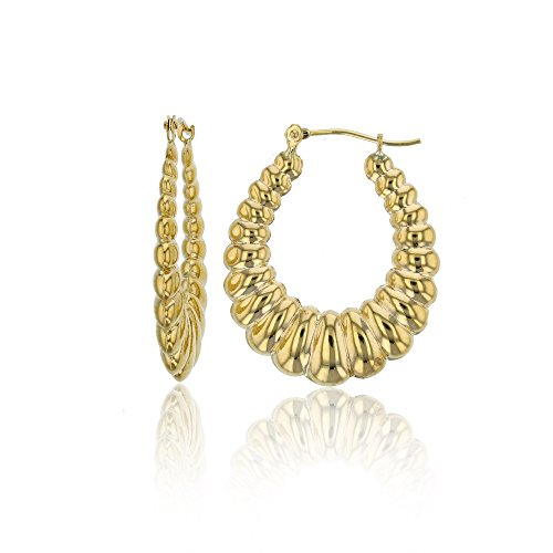 14K Gold Yellow Shrimp Hoop Earring