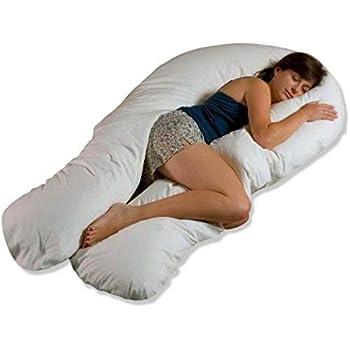 Moonlight Slumber - Comfort U Total Body Support Pillow - White (Full Size)
