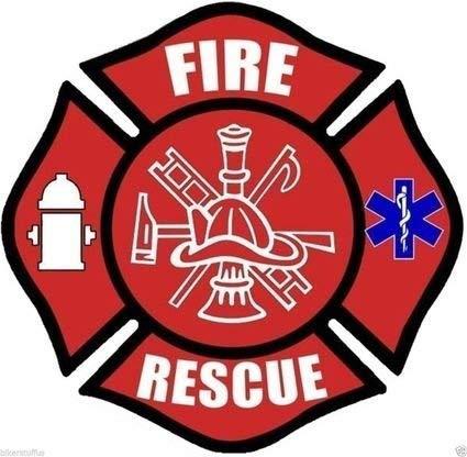 MFX Design Fire Rescue Bumper Sticker Decal Red Vinyl - Made in USA 3 in. x 3 in.
