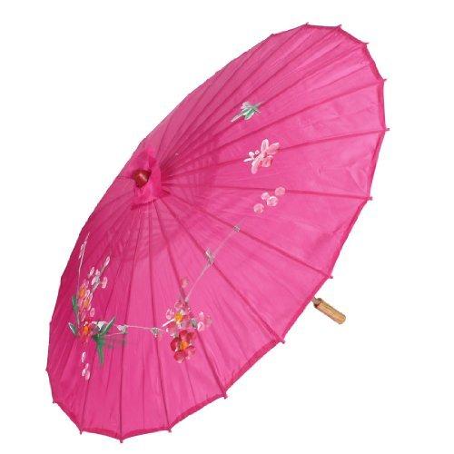 EbuyChX Flower Leaf Print Bamboo Folding Dancing Umbrella Parasol Fuchsia ()