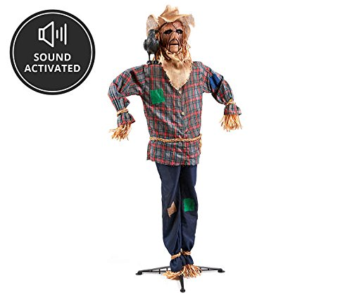 6 Foot Tall - Animated Scary Halloween Scarecrow - Sound Activated]()