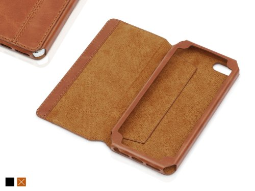 """KAVAJ leather case cover """"Dallas"""" for the Apple iPhone 5S, iPhone 5 cognac brown - genuine leather with business card compartment"""