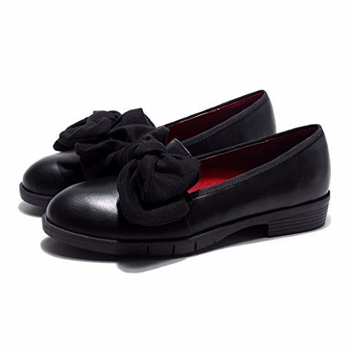Odetina Bowknot Femmes Slip-on Mocassins Ballerines Chaussures Noires