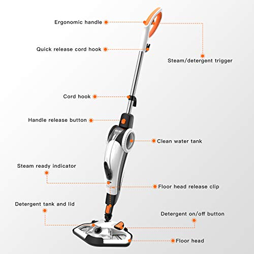 TACKLIFE Steam Mop, Steam Cleaner Multifunction Floor Steamer and Hand-held Steam Floor Mop 2 in 1, 1400W Portable Electric Scrubber Heating in 5s, with 11 Accessories by TACKLIFE (Image #1)