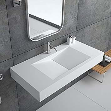 Weibath Wall Mount Rectangular Floating Sink 35 Solid Surface Stone Resin Bathroom V Shaped Sink Glossy White Amazon Com