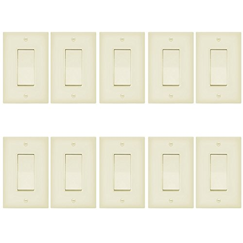 Enerlites 3-Way On/Off Paddle Light Switch with Covers 93150- | 15A, 120V/277VAC, Rocker, Single Pole, 3 Wire, Grounding Screw, Residential and Commercial Wall Switch, UL Listed | Ivory - 10 Pack by Enerlites
