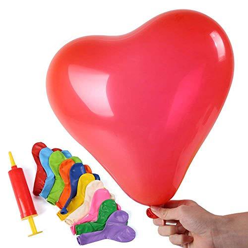 11' Latex Wedding Balloons - Shinehalo 100PCS Heart Sharped Balloons Pump Printing Balloons Latex Balloons Assorted Color 11 Inch Balloons Parties, Birthdays, Wedding Indoor Outdoor Celebration