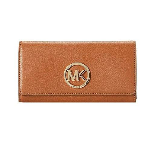 Michael Kors Fulton Flap Luggage Brown Pebbled Leather Wallet