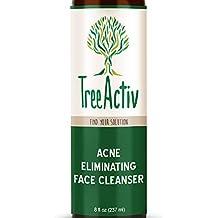 TreeActiv Acne Eliminating Face Cleanser | Natural Facial Treatment Cleansing Skin Wash | Castile Soap | Sulfur | Charcoal | Vitamin C | Peppermint | Men Women Teens | Sensitive | Unscented | 8 fl oz