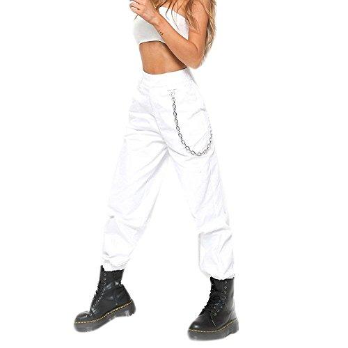 Accogliente Con Militari Lunga Trousers Libero Alta Pantaloni Grazioso Pantaloni Donna Tempo Moda Cerniera Tasca Pantaloni Baggy Autunno Multi Vita Di Con Eleganti Moda Bianca Stoffa Primaverile Pantaloni BCwqdzz