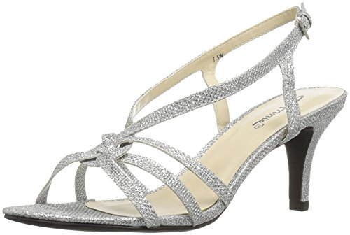 Annie Shoes Women's Lil Wide Calf Dress Sandal, Silver, 9.5 W US