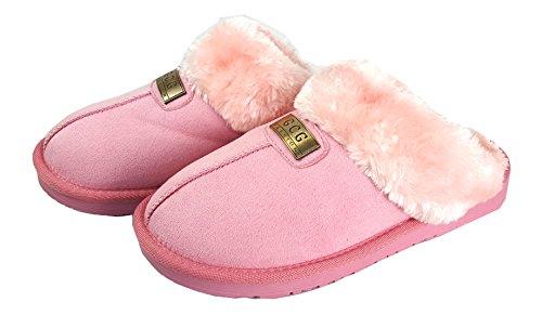 GCG Zapatillas originales de la marca GCG, para mujer, piel de oveja de imitación, suela rígida antideslizante, sintético, Rosa, 8 Rosa