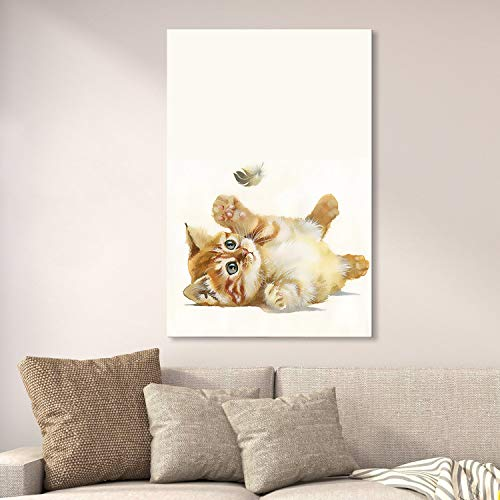 wall26 Canvas Wall Art - Cute Little Kitty Playing with a Flying Feather - Giclee Print Gallery Wrap Modern Home Decor Ready to Hang - 16x24 ()