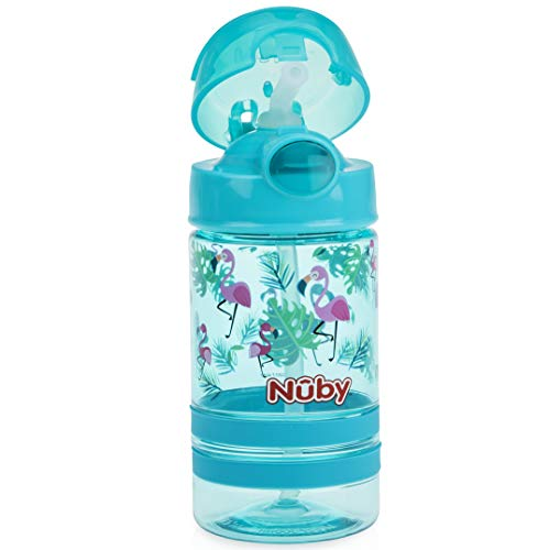 Nuby Thirsty Kids Flip-it Thin Straw Active On The Go Water Bottle with Push Cap and Carry Handle, Aqua Flamingo, 12 Ounce
