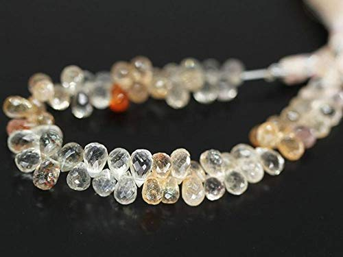 Beads Bazar Natural Beautiful jewellery Sunstone Briolette Faceted Tear Drop Gemstone Loose Craft Beads Strand 4