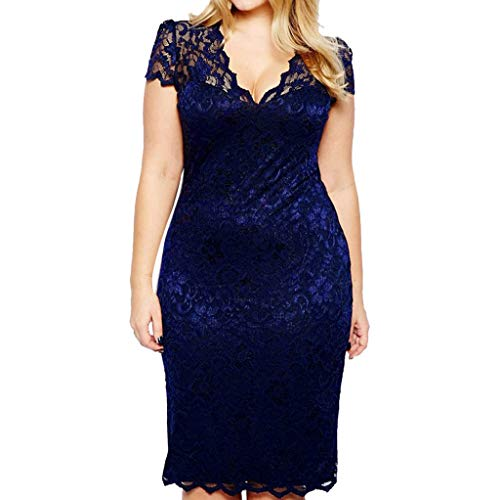 - Mikilon Women's Sleeveless Lace Floral V Neck Elegant Cocktail Dress Knee Length for Party Plus Size Navy