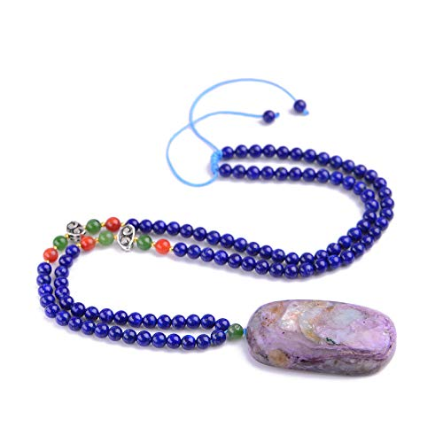 Gracelace Genuine AAA Quality Charoite Necklace Pendants Crystal Gemstone Round Beads