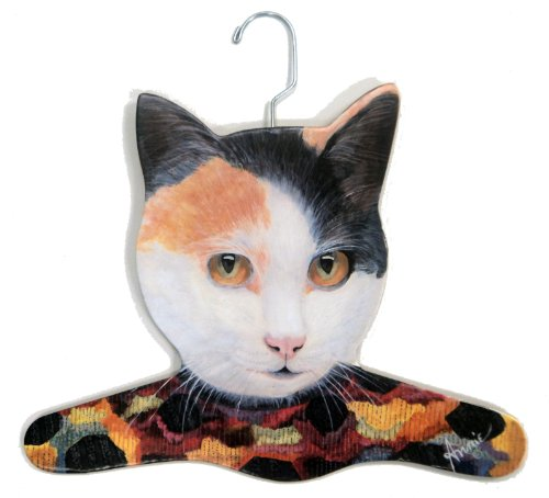 Stupell Home Décor Calico Cat Wearing Printed Dress Hanger, 17 x 0.4 x 11, Proudly Made in USA