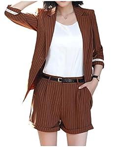 YUNY Women Stylish Pinstripe Notch Lapel Blazer Jacket Shorts Pants Coffee XL