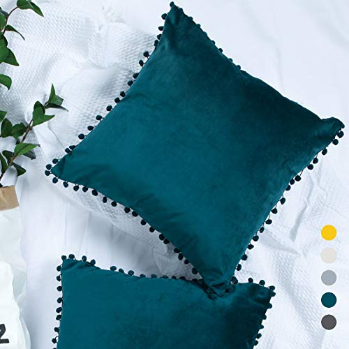 (YINFUNG Pom Pillow Covers Teal Velvet Pillow Cover 18x18 Peacock Blue Pom-pom Fringe Trim Ball Tassel Toss Pillow Cases Square Couch Sofa Accent Pillow Cover Hunter Green)