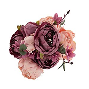 EZFLOWERY 1 Pack Artificial Peony Silk Flowers Arrangement Bouquet for Wedding Centerpiece Room Party Home Decoration, Elegant Vintage, Perfect for Spring, Summer and Occasions (1, Blush) 1