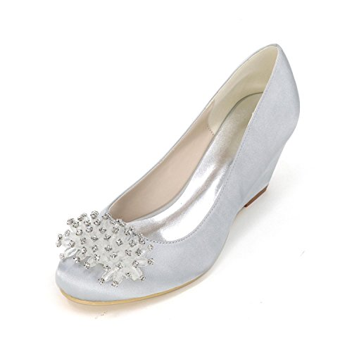 L@YC Women's High Heels Spring / Summer / Fall / Winter Heels / Pointed Toe Satin Wedding / Party & Evening , silver , 36