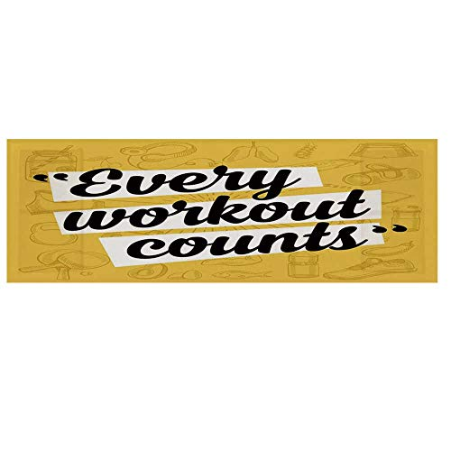 - Fitness Cotton & Linen Microwave Oven Protective Cover,Every Workout Counts Phrase in Quotation Marks Healthy Living Theme Icons Cover for Kitchen,36