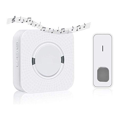 Wireless Doorbell Waterproof Door Bell Kit with 1 Remote Button Transmitter(Battery included)and 1 Plugin Receivers Operating at 1000-feet Range 5 Levels Volume and 55 Chimes with LED -