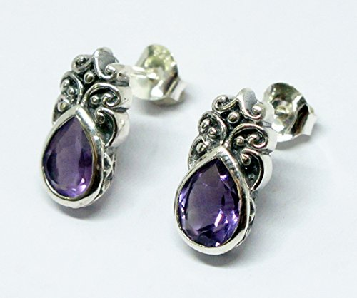 handmade 925 sterling silver stud earrings with genuine amethyst, natural Brazilian amethyst set in sterling silver, amethyst stud earrings, bali carving stud earrings
