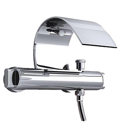Design Wasserfall Badewannenarmatur Berlina15, Wannenarmatur, Zweigriffmischer, mit Anschluss für Duschbrause, Wannenarmatur