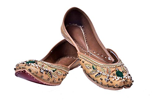 Indian Ethnic Jutti Pump Shoes Ballet Flats Embroidered Jutti Traditional Shoes Casual Flats for Women and Ladies (8) by Womens flats