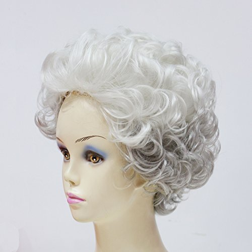 Hmy Stylish Silvery White Short Curly Side Bang Synthetic Hair Wig for Elderly Women +Wig Cap by hmy